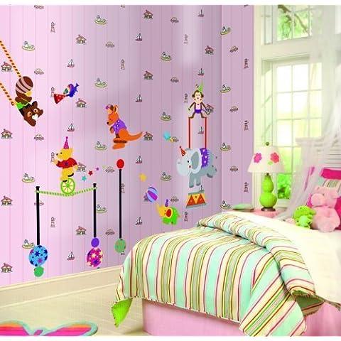 Cartoon acrobazie Circo Troupe animali orso Canguro elefante scimmia divertente adesivi da parete per la cameretta dei bambini da parete D ¨ ¦ cor