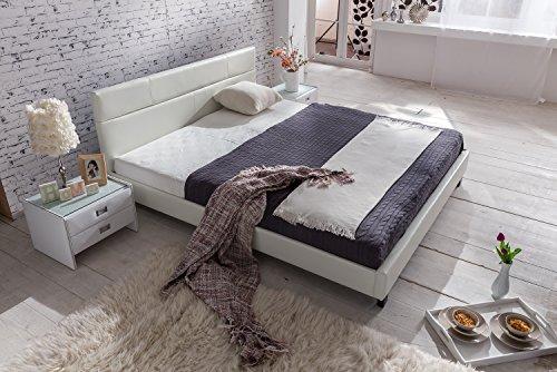 SAM Polsterbett 180×200 cm Pellisima, weiß, Kopfteil im abgesteppten Design, Bett mit schwarzen Füßen