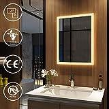 EMKE LED Badspiegel mit Beleuchtung 50x70cm Warmweiß, Badezimmerspiegel Wandspiegel Lichtspiegel Energieklasse A Modell 3