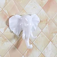 IGEMY Elephant Head Self Adhesive Wall Door Hook Hanger Bag Keys Sticky Holder (white)