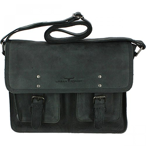 Urban Forest Leder Messenger Bag A4 Basic black Schwarz