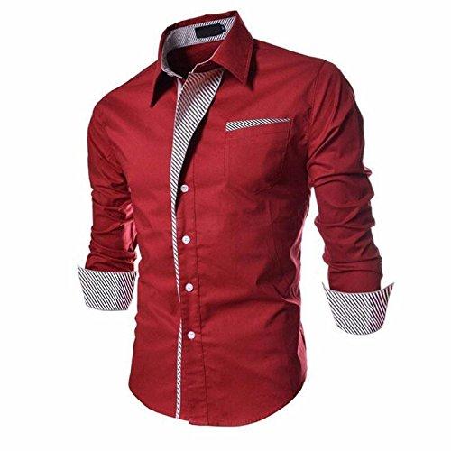 PEARL OCEAN Men\'s Slim Fit Casual Shirt (B01N1_Red_40)