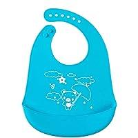 SYGA Baby Cute Cartoon Printing Waterproof Silicone Bib Rice Pocket_Blue