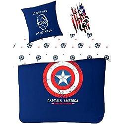 Sahinler Funda de edredón 200x 200cm + 2Fundas de Almohada Captain America 100% algodón