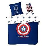Sahinler Bettbezug Avengers Captain America Blau 200x 200cm + 2Kissenbezüge 100% Baumwolle 54Fäden