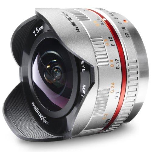 Walimex Pro 7,5 mm f/3.5 CSC Fish-Eye-Objektiv für Micro Four Thirds Objektivbajonett, silber