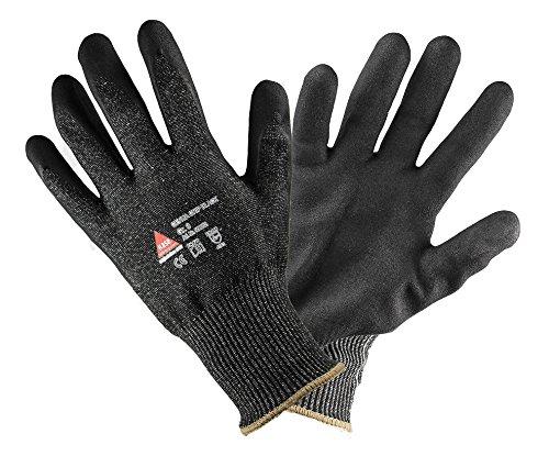 GENUA Grip schnittsichere Arbeitshandschuhe mit Nitrilbeschichtet. Montagehandschuh Schnittschutzlevel: 5, Sicherheitshandschuhe Schwarz, schnittfest - Größe: 10
