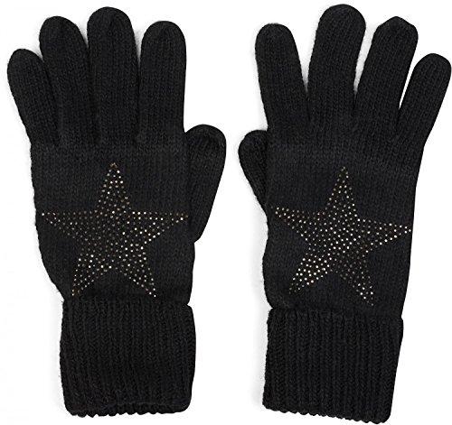styleBREAKER warme Handschuhe mit Strass Nieten Stern Applikation und doppeltem Bund, Strickhandschuhe, Damen 09010008, Farbe:Schwarz - Strass Damen Handschuh