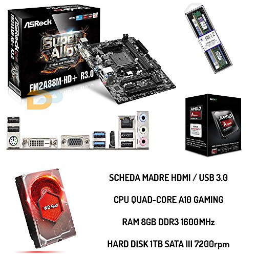 BUNDLE UPGRADE COMPLETO SCHEDA MADRE HDMI + CPU QUADCORE A10 + RAM 8GB + HDD 1TB
