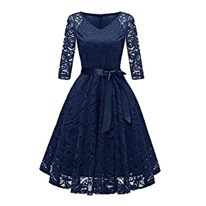 6cd6ed5829c RAISEVERN Women Lace Dress A Line 3 4 Long Sleeve Evening Party Prom  Wedding Bridesmaid Cocktail Occasion Swing Midi Dresses with Ribbon Belt