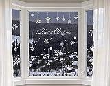Yuson Girl 8 Blatt Schneeflocken mit Merry Christmas Fensterbild Abnehmbare Weihnachten Aufkleber Fenster Weihnachten Deko Wandtattoo Weihnachten Statisch Haftende PVC Aufkleber