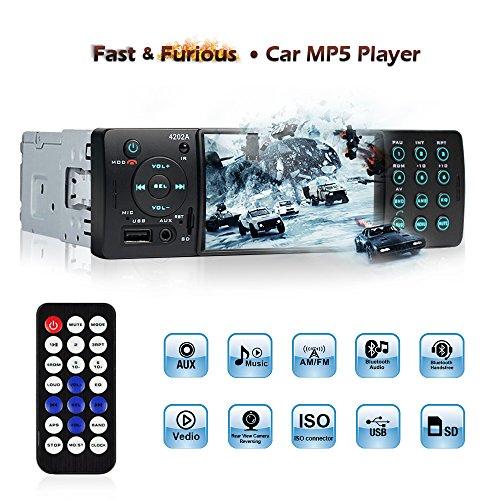 Bluetooth Autoradio 4.1 '' HD, MP3 MP4 MP5 Player mit Rückfahrkamera Eingang, Auto Radio Video Stereoanlage FM Radio USB/TF/AUX Eingang mit Fernbedienung