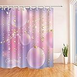 CDHBH Cortinas de ducha de Navidad para baño Oeste Festive Oro Abalorios y globos rosas Tela de poliéster impermeable cortina de baño Ganchos de cortina de ducha incluidos 71 x 71 pulgadas