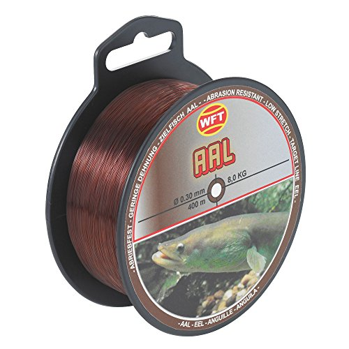 WFT Zielfisch Aal 400m 0,30mm 8kg braun - Aalschnur zum Angeln auf Aale, Angelschnur zum Aalangeln, Monofile Schnur