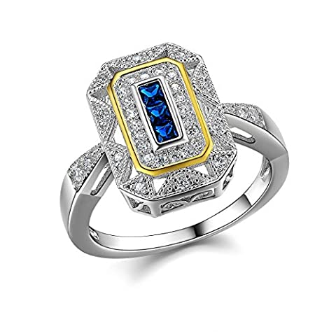 Newshe Vintage Princess Created Blue Sapphire 925 Sterling Silver Gemstone Ring Size M