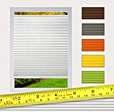 Plissee NACH MAß zum Anschrauben / Rollo Jalousie, Halterungen zum Schrauben, mit Bohren / Faltrollo für Fenster / Farbe & Größe wählbar (Weiß, Breite: 71 - 80cm, Höhe: 171 - 190cm)