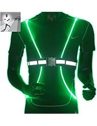 Ajustable chaleco reflectante led con luz Reflectante elástico Chaleco /4 LED Seguridad chaleco reflector, Ciclismo y Paseos ,moto bici de alta visibilidad las 40 horas , fluorescencia (verde)