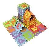Kungfu Mall 36pcs Mini-mousse EVA Coussinet Alphabet Numéro Puzzle Bébé Ramper Tapis de Jeux pour Enfants