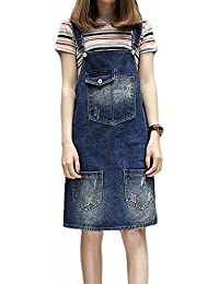 849d0643051 Elwow Women Lady s Girls Adjustable Straps Plus Size Denim Skirt Stretch Dungarees  Dress Pinafore with Big