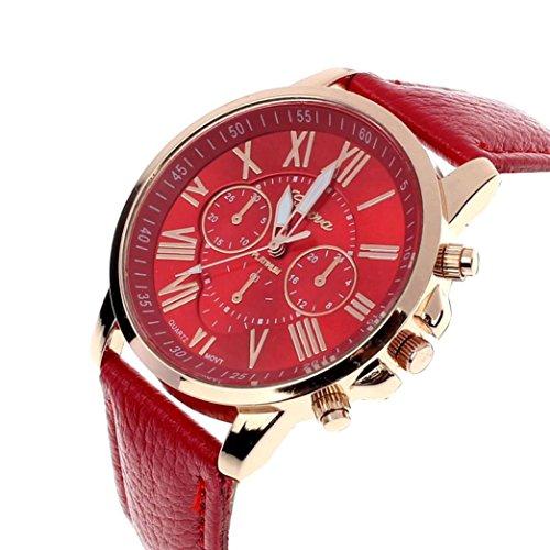 vovotrade Las nuevas mujeres de la moda de Ginebra Numeros romanos simil cuero analogico reloj de pulsera de cuarzo rojo