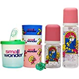 Small Wonder Pure Red Set Of 5 Combo (Pure 250 Ml, 125 Ml, Glass Set, Dispenser Green, Soother Green)