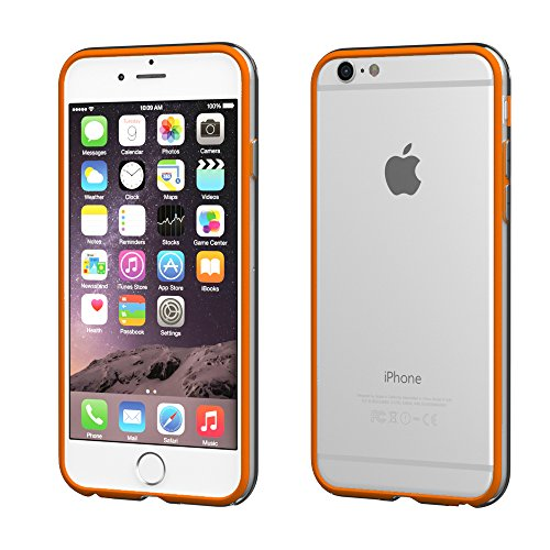 iPhone 8+ Hülle / iPhone 7+ Hülle - EAZY CASE Silikon Bumper für Apple iPhone 7 Plus & iPhone 8 Plus - Flexible Schutzhülle als Rahmenschutz in Weiß Orange