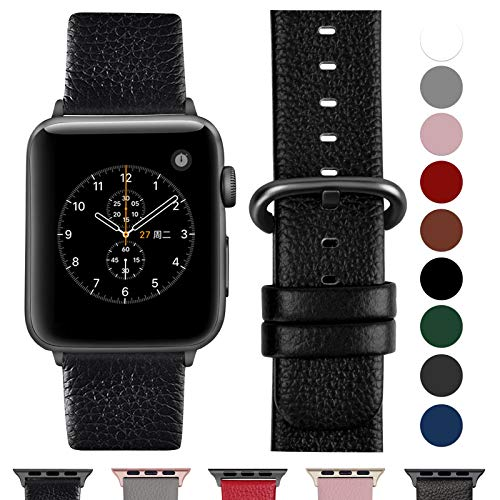 Fullmosa Compatible Apple Watch Bracelet 42mm/44mm(Serie 4) Cuir Véritable, Bracelet Apple Watch/iwatch Series 4 3 2 1,Nike+ Hermes & Edition,42mm 44mm Noir+Boucle Bronze