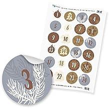 itenga Zahlensticker Z15 Adventskalenderzahlen 1-24 Klassisch / Silber Gold Weiß Hochglanz Aufkleber