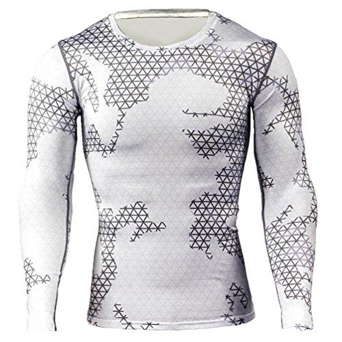 YiJee Herren Sport T-Shirts Base Layer Schnelltrocknend Kompressionsshirt Schlank Fitness T-Shirt Langarm Als Bild6 M -