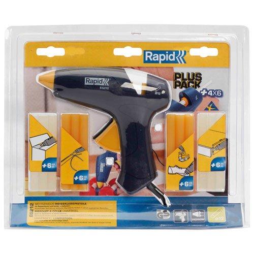 Rapid, 5000530, Kit Pistolet à colle Polyvalent 200W, Pour le bricolage et la décoration, Bâton de colle Ø12mm, EG212