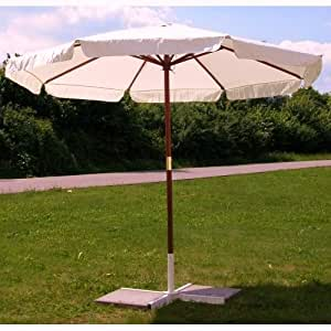 parasol 3 m powerbuy24 parasol avec armature en bois dur avec poulie beige jardin. Black Bedroom Furniture Sets. Home Design Ideas