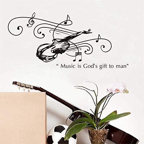 Musik ist gottes geschenk für mann gitarre wandaufkleber für kinderzimmer wohnzimmer dekoration pvc aufkleber wandbild kunst diy büro wand marineblau 90 * 43 cm
