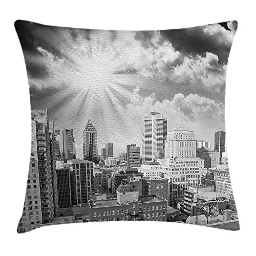 ZTLKFL Black and White Throw Pillow Cushion Cover by, Aerial View Montreal Canada Cityscape with Skyscrapers Architecture, Decorative Square Accent Pillow Case, 18 X 18 Inches, Black White Grey Montreal Zip