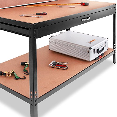 Werkbank Deuba® ✔ XXL 150x120x60cm ✔ Lochwand ✔ Profi Ausführung – Werkstatttisch Packtisch Werktisch - 3