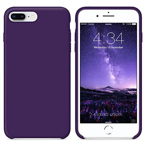 Surphy cover iphone 8 plus, cover iphone 7 plus, custodia iphone 8 plus 7 plus silicone cover antiurto con morbida microfibra fodera, protettiva cover case per apple iphone 8/7 plus 5.5 (violet)