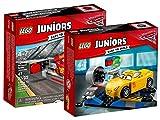 Lego Juniors 10730–Lightning mcqueens Aceleración Rampa, Auto de juguete + Lego Juniors 10731–Cruz Ramirez Carreras Simul ator, DISNEY COCHES