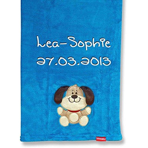 Babydecke Decke mit Namen bestickt 76x102 cm kuschlig weich Bär Affe Katze Schaf Hund (Hund dunkelblau)