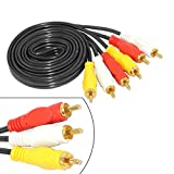 #3: SNDIA 3 RCA - 3 RCA Male to Male Composite Audio Audio Cable Gold Plated AV Cable 3X RCA Plug Video Cable for DVD VCD TV Blueplayer Vi - 1 Meter