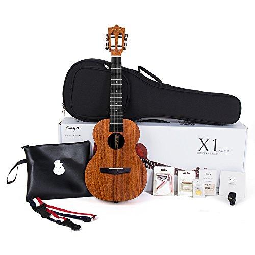 Enya Electric Akustische Tenor Ukulele EQ EUT-X1 mit Stimmgerät Strap Bag Capo Picks Saiten Fingershaker Tuch