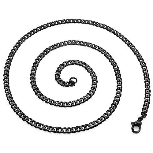 SoulCats Halskette Königskette Panzerkette Edelstahl schwarz, Größe:3 mm, Auswahl:Kette 60 cm, Farbe:Schwarz