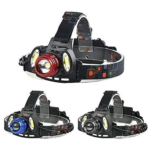 Lugii Cube extérieur batterie lampe de poche lampe frontale pour camping randonnée Pêche lumière T6+ 2* COB LED Phare Zoomable mise au point 4modes Super Bright LED Lampe frontale