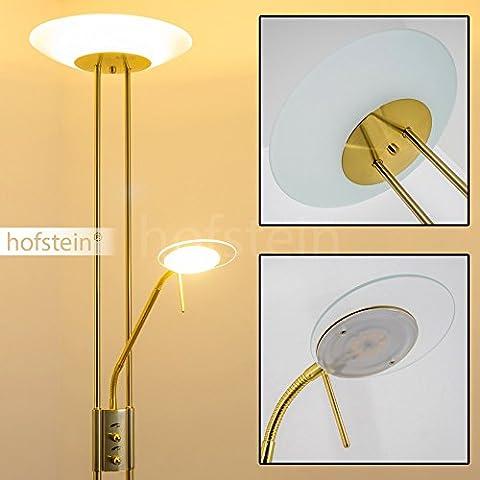 Lampe de salon sur pied LED Olmini finition laiton - Lampadaire doté de 2 variateurs indépendants pour l'éclairage principal et pour la lampe de lecture - Lumière de teinte blanc chaud