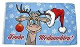 Fahne / Flagge Frohe Weihnachten Elch Kugel 90 x 150 cm