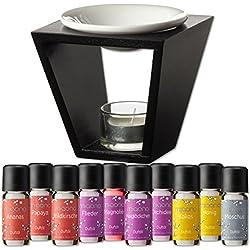 Duftöl Set mit Duftlampe - Wunderbare Welt der Düfte No. 1 - 10x feiner Raumduft - Aromaöl für Duftlampe und Diffuser von miaono