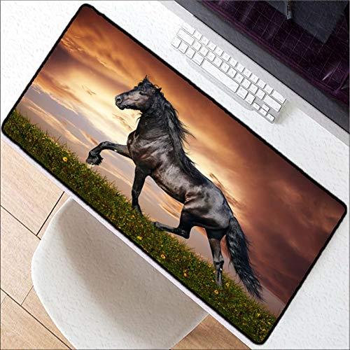 Erjiasan 900 * 400 * 3 Mm Pferd Tier Erweiterte Gaming Mouse Pad Xxl Genäht Schlosskanten Wasserdicht Gummi Mousepad Keyboad Mat,400X800X3MM