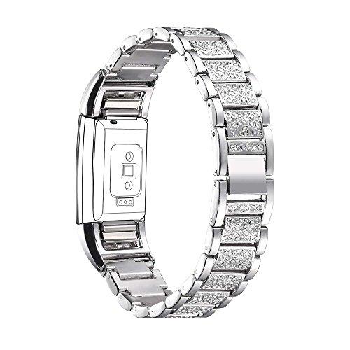 Bandmax Armband für Fitbit Charge 2, Kristall Metall Gliederarmband Ersatzarmband Wrist Armband Uhrenarmband für Fitbit Charge 2, Silber (3 Bands Hochzeit Sets Für Die Frau)
