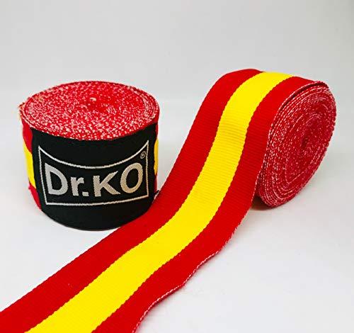 Dr. KO Vendas Boxeo, Kick Boxing, MMA, Muay Thai. Cinta Elástica Mano Muñeca MMA Envolturas Vendaje Bandera de España; 4,5 Metros