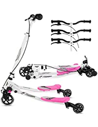 Lonlier - Patinete en forma de Y con 3 ruedas. Plegable, propulsado mediante balanceo, para niños de 5 a 8 años, Infantil, rosa