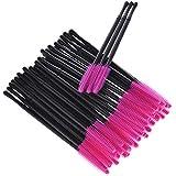 Veena 50PcsPack Durable Micro Disposable Individual Applicators Mascara Brush Eyelash Extension Makeup Tool Silicone Eyelash StickPink 1