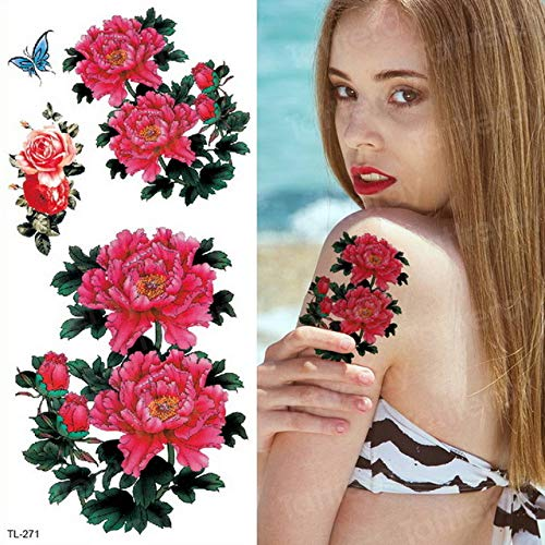 4 pezzi, adesivi bikini tatuaggio sexy per donna adesivo tatuaggio temporaneo impermeabile blu viola fiore rosa adesivi mano body art estate, tl271